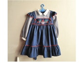 Vintage Girls Pinafore Blue Gingham Dress Size 4 Baylis Bros Brand