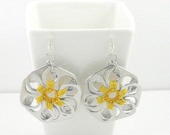 Yellow pop tab flower earrings, pop tab earrings, crochet earrings, upcycled earrings, recycled earrings, pull tab earrings
