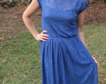 MOONSHINE - 1970s 80s Cobalt Blue Lace Dress Handkerchief Hem Cap Sleeve Retro Pretty Glam Goth Ladylike Secretary Party Disco Dance Med
