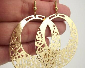 Medium Laser Cut Gold Round Filigree Medallion Earrings, Gold Earrings