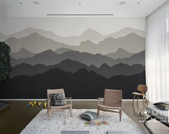 Gradient Mountain Scenery peel and stick Wallpaper, Scandinavian, home decor, wall decor, wall decals, wall sticker, reusable fabric