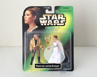 Star Wars Figures Princess Leia & Luke Skywalker Ceremonial Outfits - Carrie Fisher, Mark Hamill - 90's Star Wars Action Figures, Kids Toys