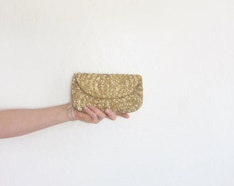 gold sequin clutch purse . metallic sparkle formal evening bag