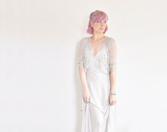 pale silver geometric slip . metallic wedding lingerie dress .small.medium