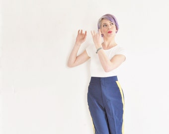 real deal marching band trousers . navy blue with gold trim .large .sale s a l e