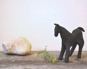contemporary decor: black horse. original clay figurine