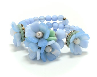 Frosted Blue Glass Flowers Beaded Cluster Bracelet