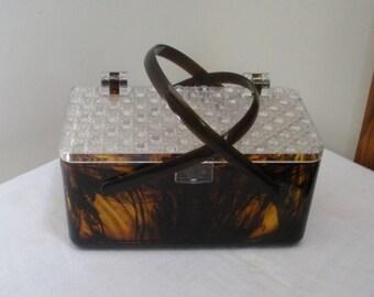 Vintage Tortoise Shell Lucite Plastic Box Purse