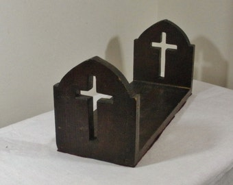 Vintage Arts & Crafts Mission Bookrack with Cross - Gothic