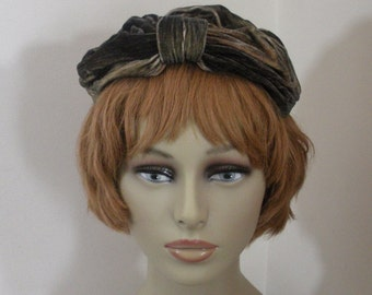 Vintage Tan & Black Velour Half Hat