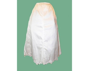 Vintage Petticoat 1800s Antique Embroidered Silk Petticoat with Scalloped Hem M L XL - on sale