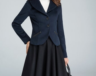 Blue blazer,navy mini coat, winter jacket, wool coat, mini winter jacket, short coat, classic jacket, luxury woman's coat, tunic coat 1634