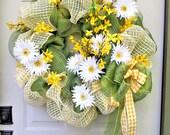Sunny Daisy Wreath, Bright Green and Yellow Door Decor