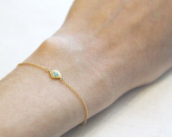 Evil Eye Bracelet  | Delicate Gold Bracelet | Evil Eye Jewelry