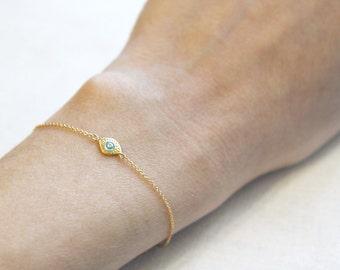 Evil Eye Bracelet    Delicate Gold Bracelet   Evil Eye Jewelry