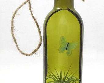 Recycled Bottle Hanging Plantscape, Decorative Plant Holder Terrarium, Wall Hanging Bottle Fused Glass Butterfly with Airplant