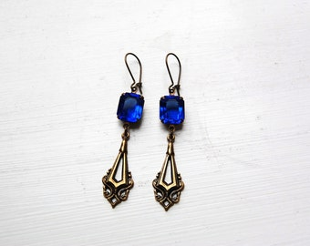The Blue Chandelier - A Pair of Vintage Glass Earrings