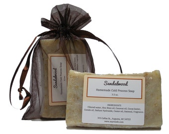 SANDALWOOD, Soap, Cold Process Soap, Vegan Soap, Natural Soap, CP Soap, Cocoa Butter, Soy-N-Suds, Homemade Soap, Scented Soap, Augusta WI