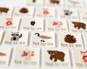 Woodland Clothing Tag Labels - Iron On Tags, Personalized