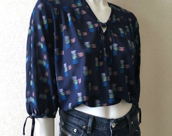 Vintage Women's 70's Cropped Blouse, Navy Blue, Geometric, Sleeved (M)