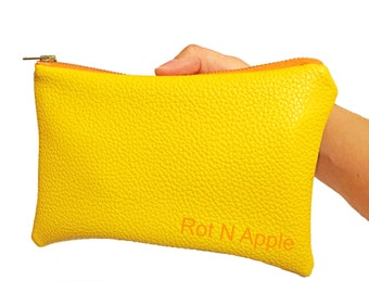 Yellow Faux Leather Fully Lined Zipper Pouch - Zipper Pouch - Wallet - Faux Leather Wallet - Faux Leather Purse - Clutch - Money wallet