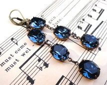 Long Earrings Triple Drop Swarovski Montana Blue Crystal Dark Navy Sapphire Blue Vintage Swarovski Bridal Bridesmaid Gift Something Blue