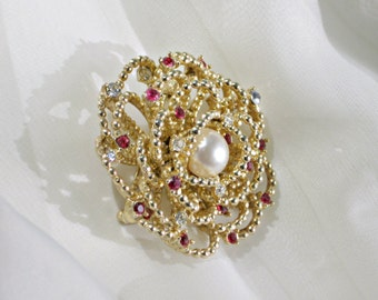 Brooch Signed Boucher 7959P Vintage Jewelry Red Rhinestone Pin