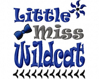 Little Miss Wildcat Applique Machine Embroidery Design 4x4 5x7 6x10 Kentucky Team Instant Download Basketball Football Softball Sports