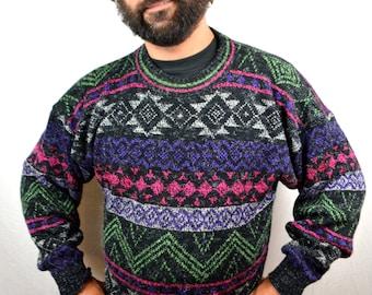 Vintage 80s Rainbow NEON FUN Geometric Sweater - Made in Italy