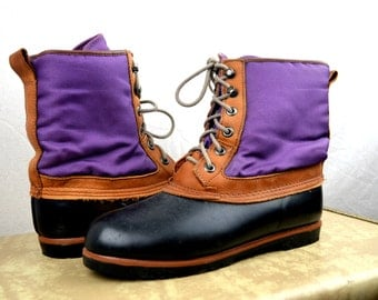 Vintage Purple Lands End Tall Duck Boots Leather and Rubber - Size 8