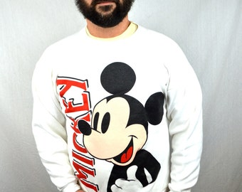 Vintage 80s Mickey Mouse White Sweatshirt
