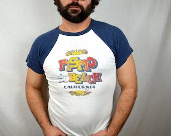 SUPER RARE 1970s Pismo Beach California Surfer Raglan Tee Tshirt Shirt