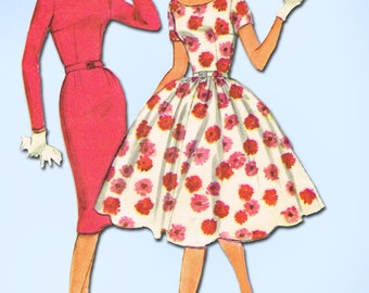 1950s Vintage McCalls Sewing Pattern 5294 Easy to Make Junior Misses' Dress 35B