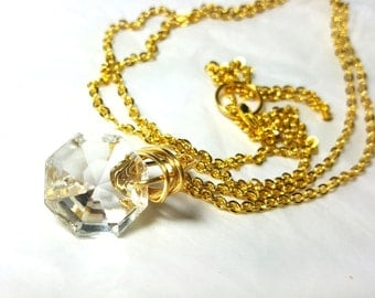 Tiny Crystal Extra Long Necklace- Gold - small- Upcycled antique chandelier prism pendant- Reclaimed Beauty