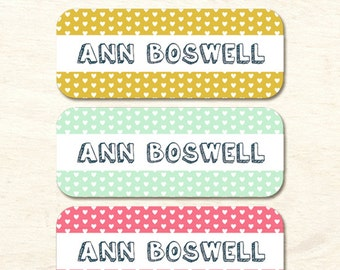 30 Name Labels, Personalized Waterproof Vinyl Labels, School Labels, Sippy Cup Stickers, Bottle Labels, Girl Labels, Heart Pattern (NS-01)