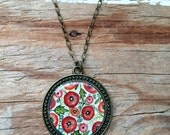 Hand Painted Necklace, Poppy Flower Garden - Inspired by Vintage Fabric, Watercolor Art