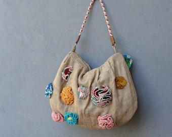 Bohemian Flower Purse Linen and  Crocheted Flowers Bag
