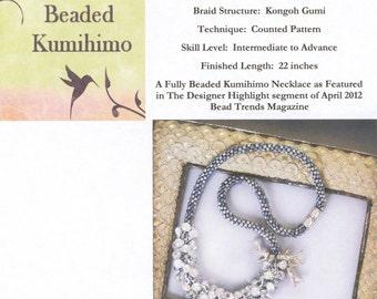 Silvery Sea, Fully Beaded Kumihimo Necklace, Beaded Kumihimo Tutorial