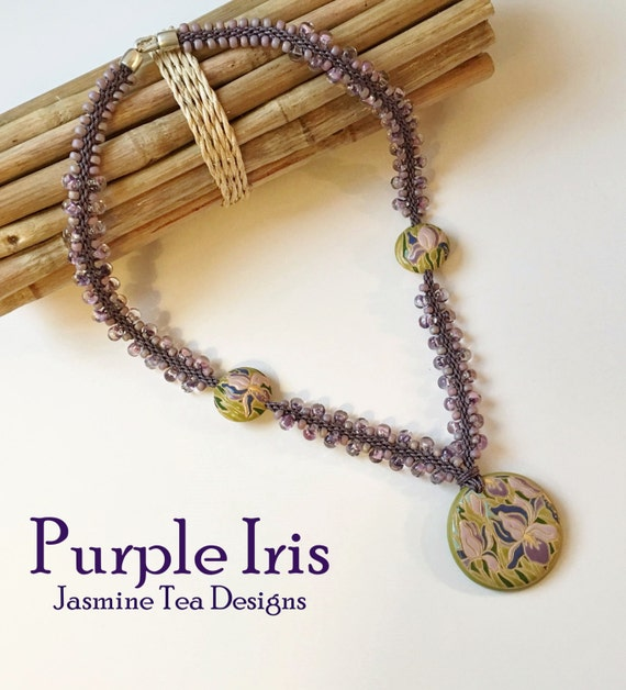 Purple Iris Beaded Kumihimo Necklace