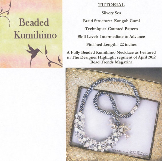 Silvery Sea, Fully Beaded Kumihimo Necklace, Beaded Kumihimo Tutorial