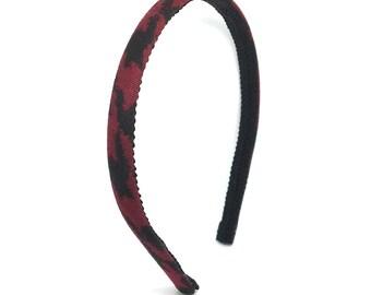 Burgundy and Black Skinny Headband -  Preppy Blair Waldorf Houndstooth Headband -  Gossip Girl Headband for girls and women