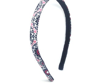 Black, Gray, White and Berry Red Floral Medallion Skinny Headband - big girl headband - adult headband - Flowers Headband - Preppy Headband