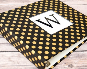 Baby Book, Baby Gift, Baby Album, Baby Memory Book, Baby Keepsake, Modern Baby Book, Black with Gold Dots Album