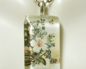 Cross with lily and forget me nots pendant with chain - GP09-001