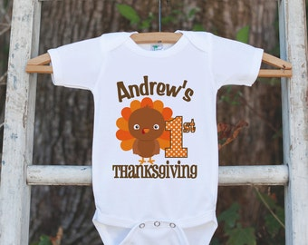 First Thanksgiving Shirt - 1st Thanksgiving Onepiece - Babys First Thanksgiving With Turkey- Personalized Baby Boy First Thanksgiving Outfit