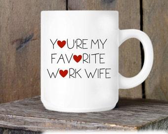 Coworker Gift, Coffee Mug, Work Wife Hearts Mug, Novelty Ceramic Mug, Humorous Quote Mug, Funny Coffee Cup Boss Gift Idea, Mug Exchange