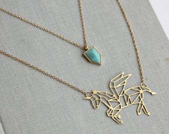 Geometric Unicorn Layered Necklace. Pegasus. Modern. Minimalist
