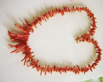 Red Branch Coral Beads  Necklace 14K Gold Clasp