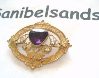 Antique Vintage Jewelry Amethyst and Clear Stones  Gold Tone Repousse Frame