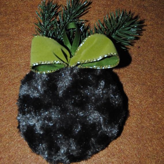 Brown Faux Fur Christmas Tree Ornament Long by LoveToSewStudio